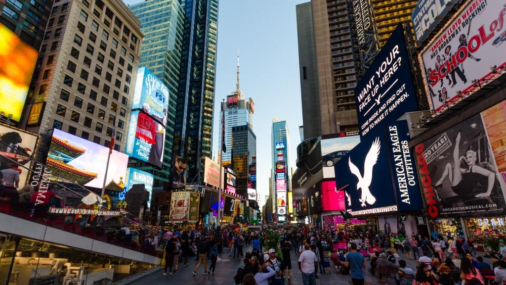 Bain de foule à Times Square